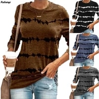 2021 spring and autumn new european and american womens t shirt tie dye loose casual striped long sleeved t shirt sweater women