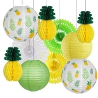 summer party decoration set pineapple hanging paper lanterns lamps honeycomb pineapple ball for birthday hawaiian tropical party