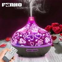 FUNHO-humidificateur dair ultrasonique 3D de 400ml  diffuseur dhuile essentielle et darome  brumisateur frais avec telecommande pour la maison