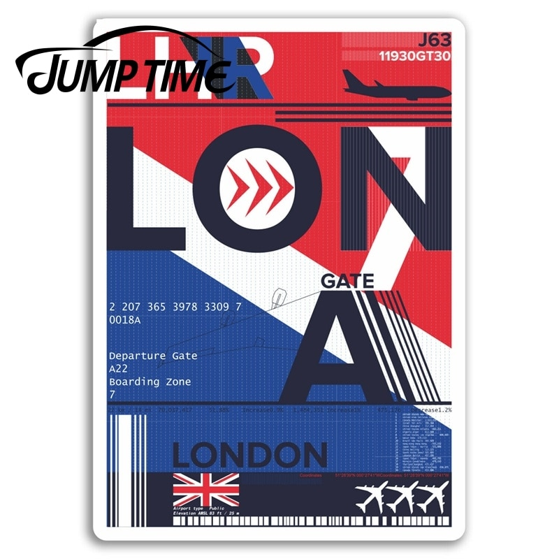 Jump Time for London Heathrow Airport Vinyl Stickers Sticker Laptop Luggage Bumper Trunk Window Decal Car Accessories