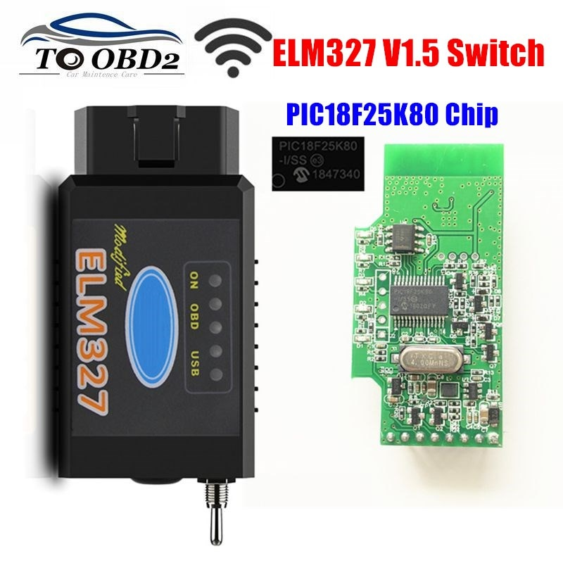 HS-CAN/MS-CAN ELM327 V1.5 Switch PIC18F25K80 Chip support Bluetooth/WIFI ELM 327 For Ford FORScan OBD2 Car Diagnostic Scanner