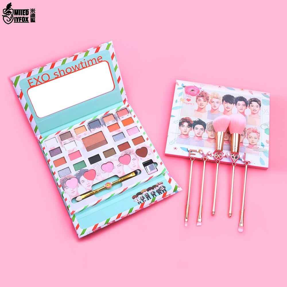 New Korea EXO Eye Makeup Nudes Palette 26Colors Matte Eyeshadow Pallete Glitter Powder Eye Shadow with Brush Set Stamp Pigment