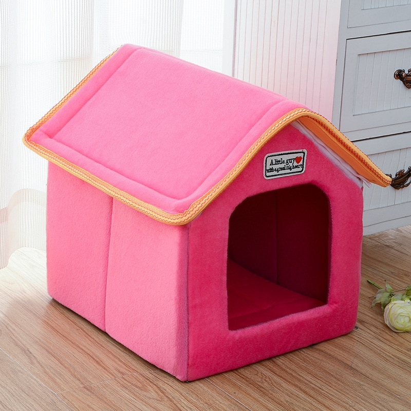 AliExpress - Winter Pet House Foldable Bed With Mat Soft Leopard Dog Puppy Sofa Cushion House Kennel Nest Dog Cat Bed For Small Medium Dogs