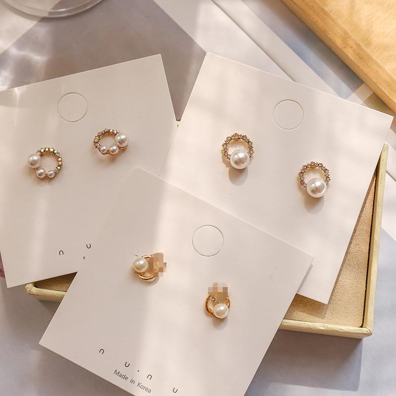 Beilan Trendy Korean Small Stud Earrings Crystal Hot Sale Fashion Pearl Earrings for Women Girls Wedding Party Jewelry YEA293