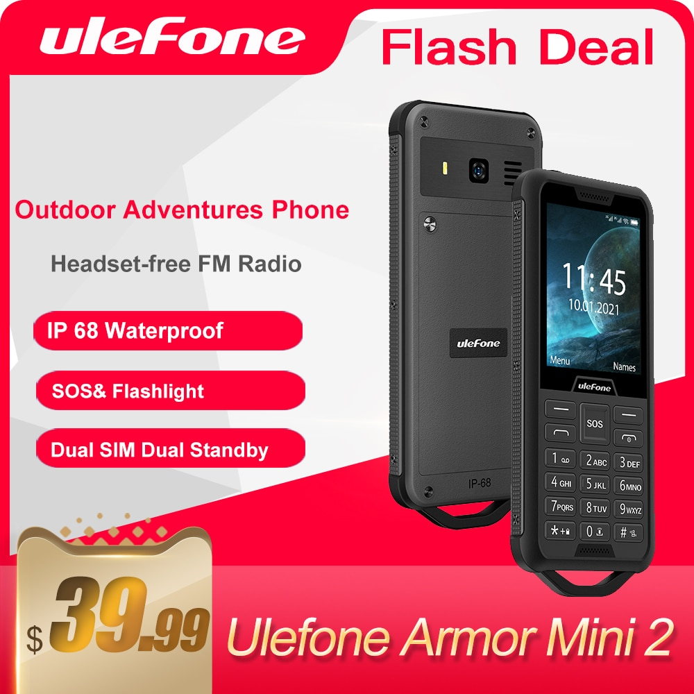 "Ulefone Armor Mini 2 Cell phone Outdoor Adventures Phone 2.4"" Smartphone Wireless FM Radio 2100mAh 0.3MP Dual SIM Mobile Phone"
