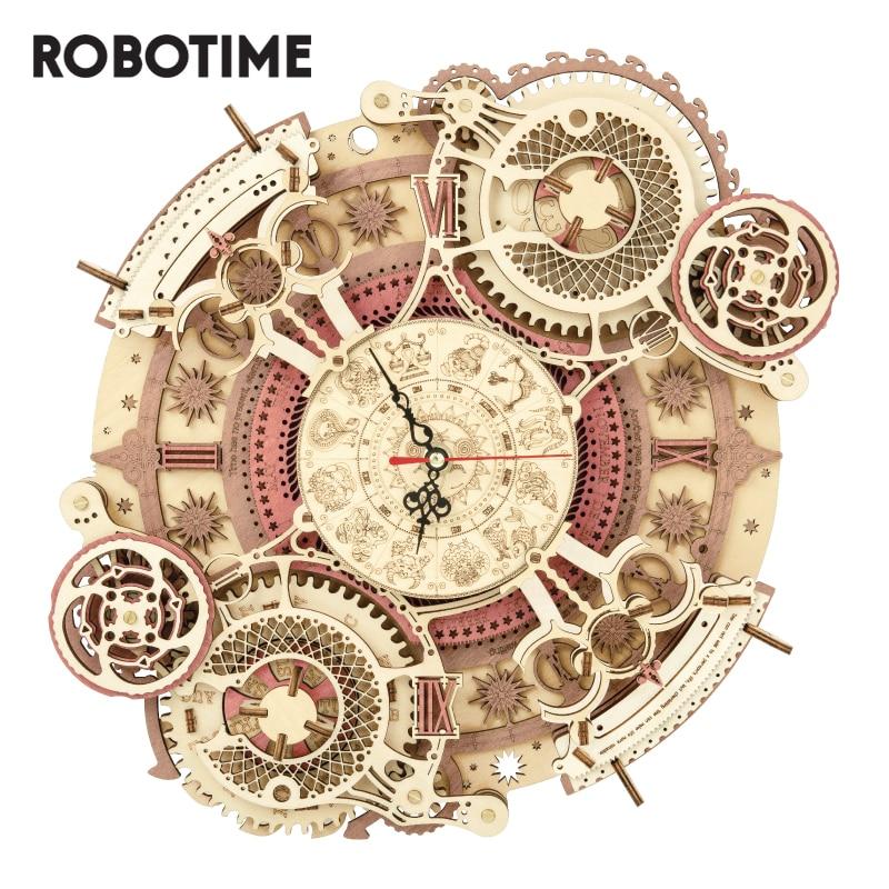 Robotime ROKR-ساعة حائط زودياك ثلاثية الأبعاد ، نموذج أحجية خشبي ، هدايا بناء