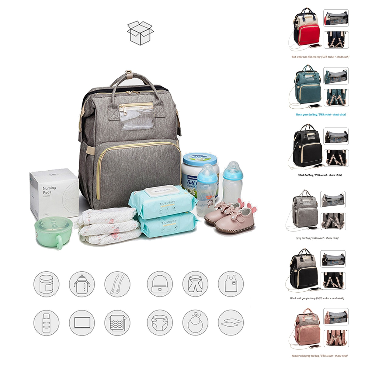 New Mummy Bag Fold Able Baby Bed Large Capacity Multi Functional Portable Shoulder Diaper Bag