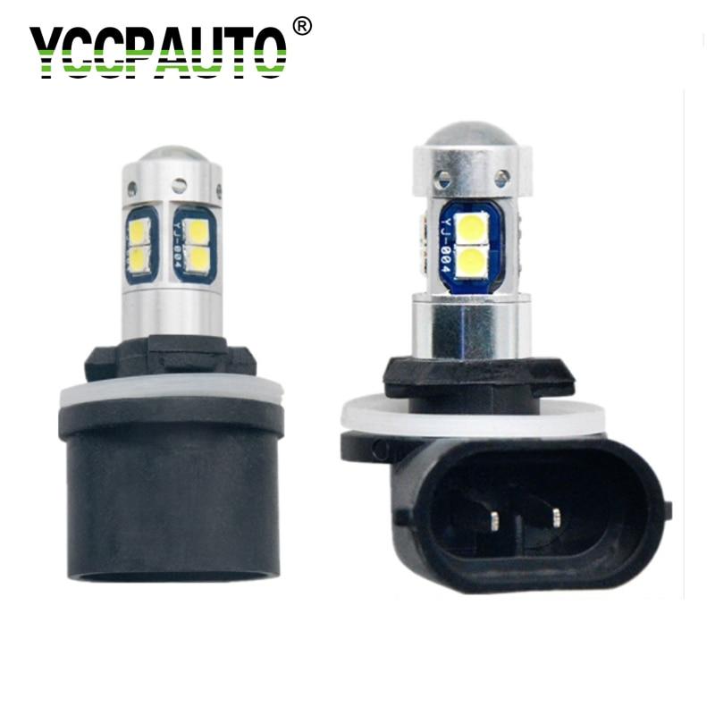 YCCPAUTO Super Bright H27 880 880 H27W H27W/2 LED Car Fog Lights 10W 3030 LED Bulbs 12V Auto Fog Lamp DRL White 6000K 2Pcs
