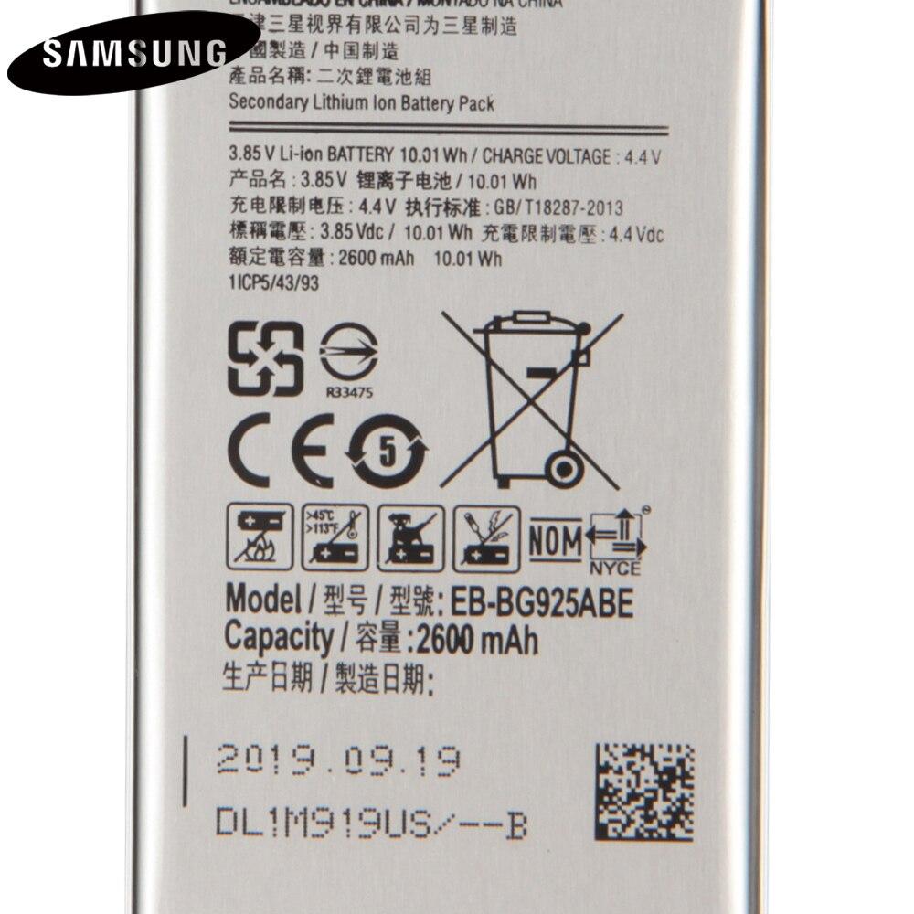Original Battery EB-BG925ABA EB-BG925ABE For Sasmung GALAXY S6 Edge G9250 G925F G925FQ G925S G925A G925T G925P G925V 2600mAh enlarge