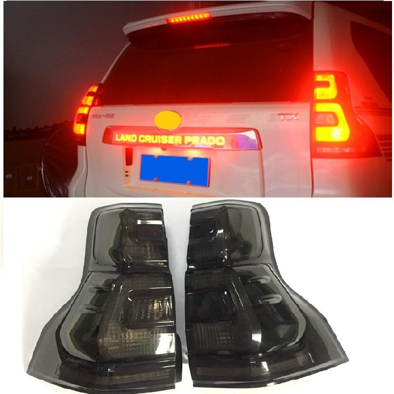 Luces de día de freno de estacionamiento de iluminación trasera de luz trasera LED para PRADO 2018, accesorios de automóvil para EXTERIOR, iluminación trasera de SUV Streamer