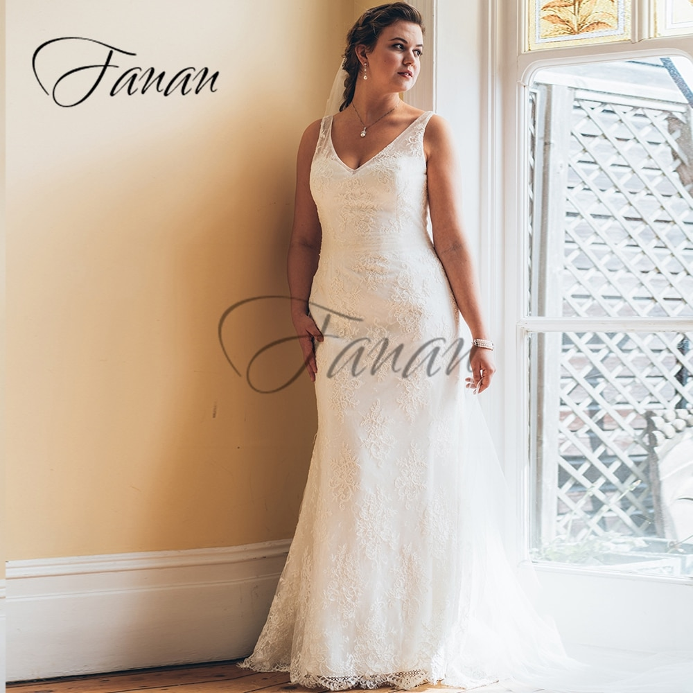 Promo V-Neck Sleeveless Backless Mermaid Wedding Dresses Lace Appliques Oversize Bridal Gown Свадебное платье vestido de noiva
