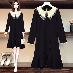 Black Lace Korean Style Oversized Party Vintage Women'S Dress For Christmas Clothes Long-Sleeve 2021 Spring Autumn A6547