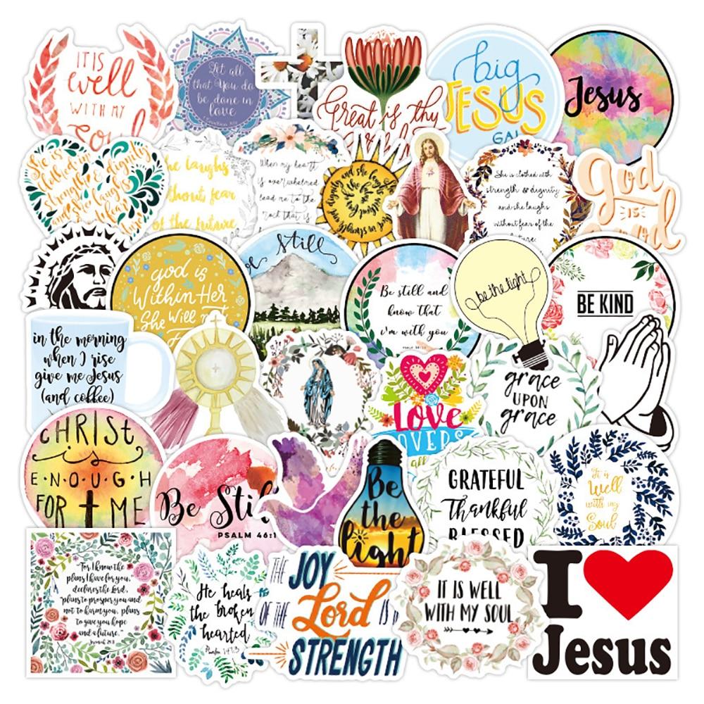 10 Вт, 30 Вт, 50 шт Иисуса христиане Религия слова «граффити» Стикеры s скейтборд холодильник гитара ноутбук Классические игрушки Прохладный Ст...