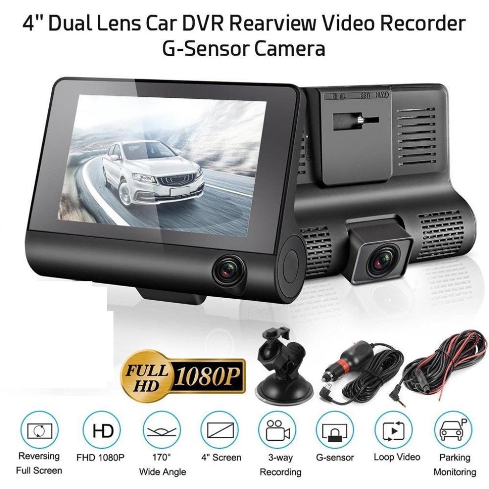 Car DVR 3/2 Cameras Lens 4.0 Inch  Camera Dual Lens with Rearview Camera Video Recorder Auto Recorder DVRS  Cam
