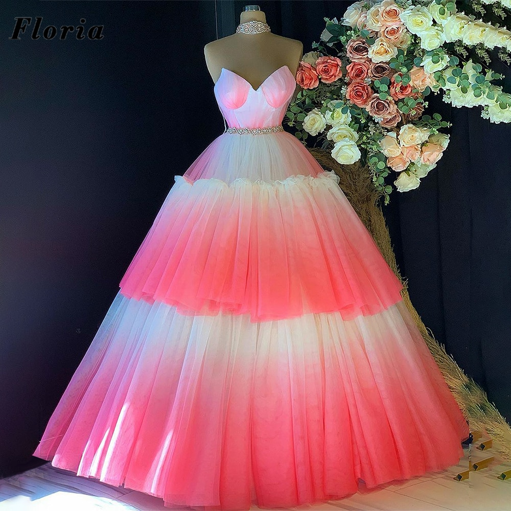 Puffy White And Pink Evening Party Dresses 2021 Vestidos Customize Formal Dubai Prom Dress Long Saud