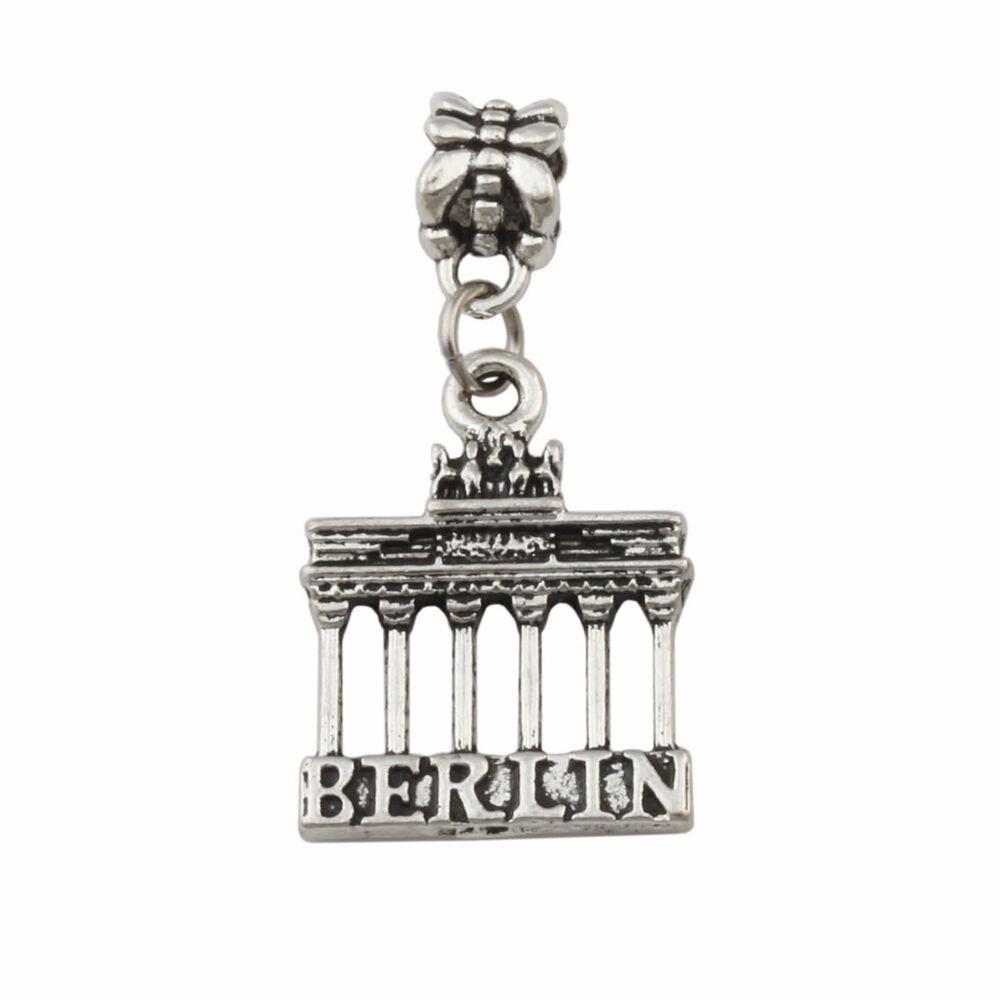 100 Uds aleación de Zinc Puerta de Brandenburg Berlin Landmark viaje colgantes orificio grande cuentas se ajustan a encanto europeo pulsera joyería