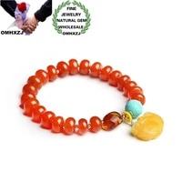 omhxzj wholesale cs70 european fashion fine woman man party birthday gift natural genuine red agate beads tassel bracelet bangle