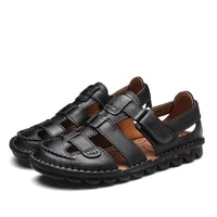 2021 new large size summer mens leather sandals fashion soft soled shoes beach sandals light slippers casual flat sandals38 48