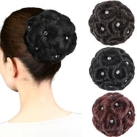 dianqi synthetic curly female natural chignon fake hair bun donut clip in high temperature fiber hair extension for woman