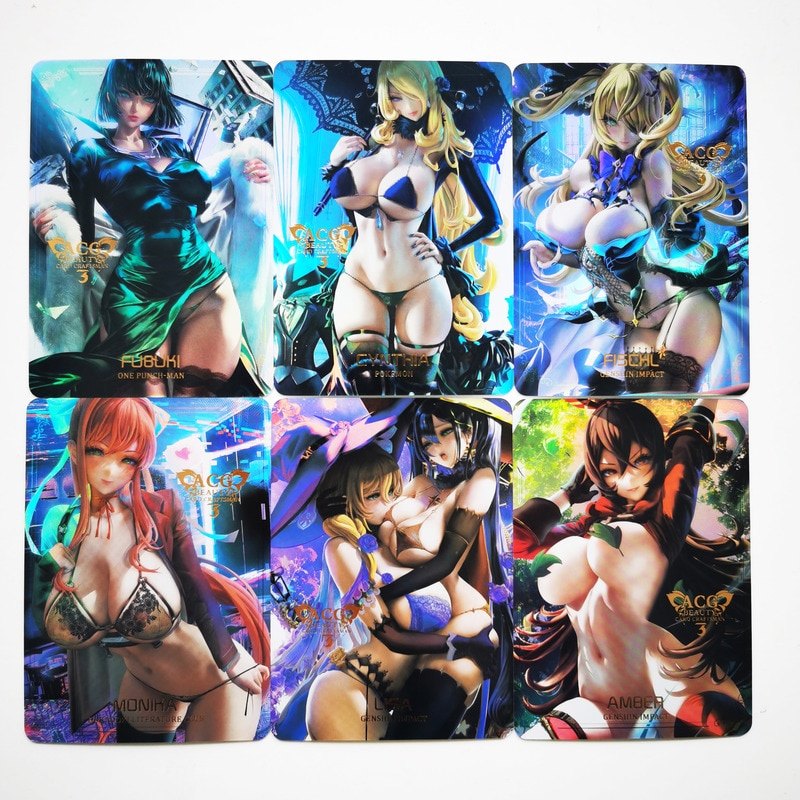 9pcs/set ACG Beauty Bronzing No.6 Fubuki Terra Lisa Hobby Collectibles Anime Game Collection Cards Sexy Girls