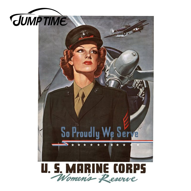 JumpTime 13cm x 9,1 cm estilo 3D de coche Retro Pin Up Girl una mujer en un uniforme marino de los Estados Unidos pegatina de la ventana del coche pegatinas de coche JDM