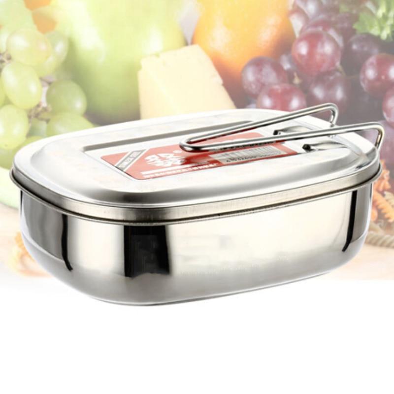 Recipiente de Comida Caixa de Armazenamento de Lanches Portáteis de Aço Bento Almoço Quadrados Inoxidável