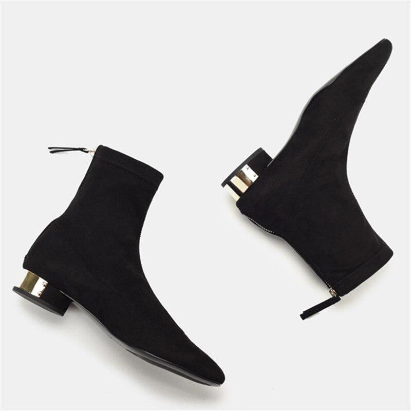 Flock Mujer calcetín Botas Slim Fit botines cuadrados tacón bajo Botas Mujer otoño botines bajos cremallera trasera Zapatos Mujer