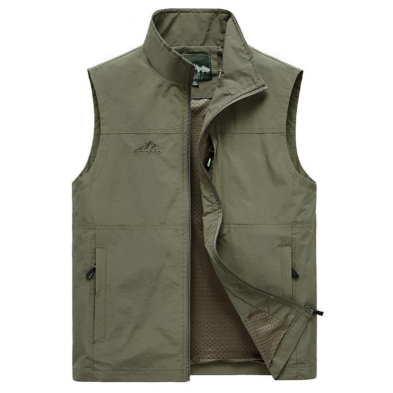 Sleeveless Vest Men Summer Breathable Waistcoat Multipockets Vest Jacket Men Outdoor Fishing Photography Vest Travel Clothes 8XL