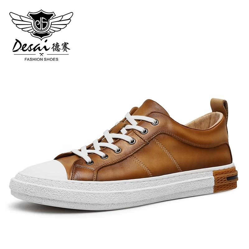 DESAI Men Casual Shoes Sport Sneaker Top Quality Genuine Leather Brand Laces Up Summer Breathable 2021 New Arrival Fashion 2018 new arrival puma men s tsugi jun cubism sneaker badminton shoes size36 44