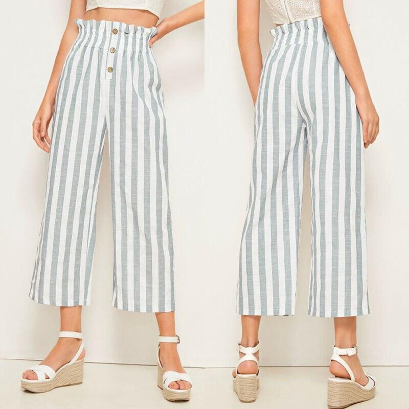 Goocheer женские новые модные полосатые широкие брюки на пуговицах с эластичной резинкой на талии повседневные брюки укороченные брюки