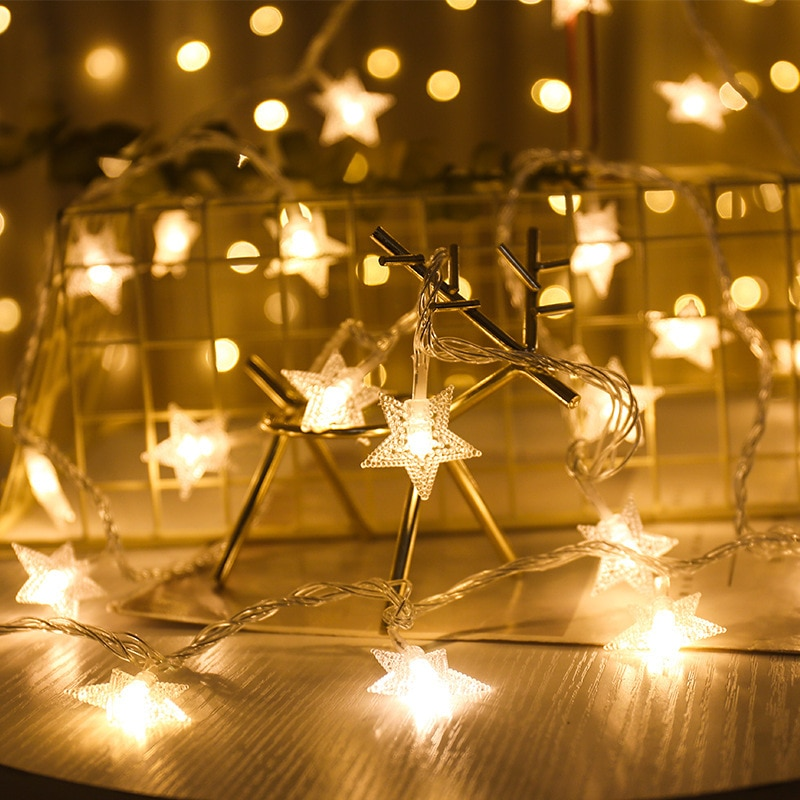 1.5m 3m 6m LED star snowflake lamp bed battery powered fairy lamp wedding decoration christmas party decoration holiday lighting 2018 special offer time limited christmas tree new led christmas lighting yard decoration 1 6m led backdrop lamp h199