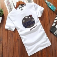 hujie eved autumn clothes mens trend mens short sleeved t shirt cotton bottoming shirt white round neck large size clothes