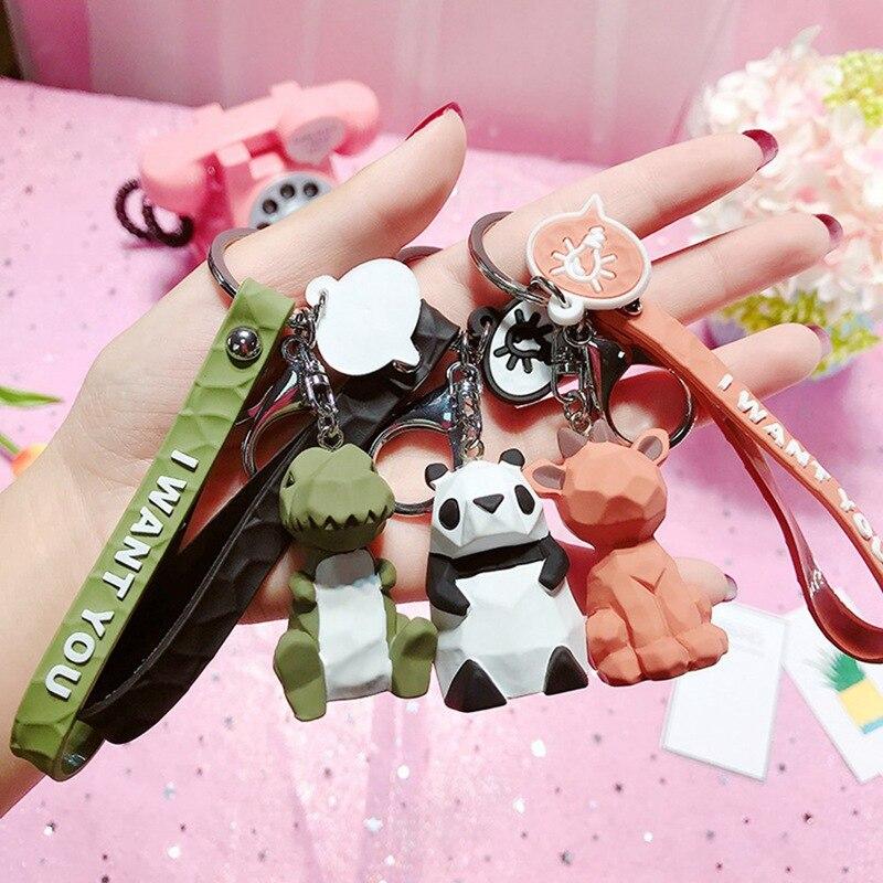 2020 nuevo llavero de perro panda lindo de moda llavero de resina de dibujos animados PU cuerda creativa para coche bolsa colgante para teléfono llavero de regalo