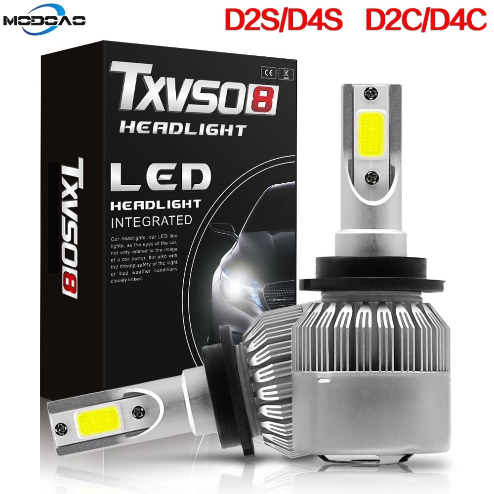 1Pair D2S D4S LED Headlight T2 Bulbs Kit Diamond White Light CarAuto Driving Beam 6000K TXVS08 Waterproof 9V 24V 32V