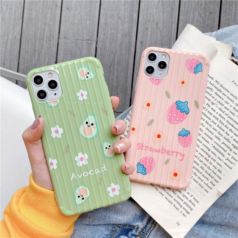 Funda de teléfono suave de aguacate y fresa de verano para iPhone 11 Pro X XR XS MAX 6 6S 7 8 Plus funda de TPU para maleta de viaje brillante