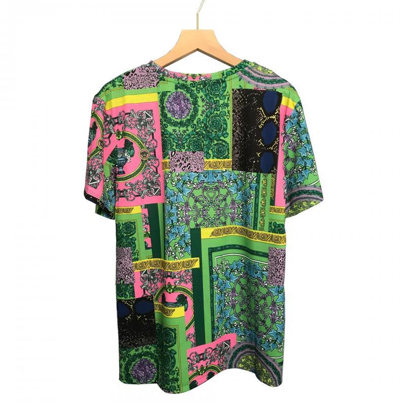 الصيف الجولة الرقبة تي شيرت فضفاض القطن السيدات المعتاد تي شيرت موضة الطباعة بلوزة خضراء اللون النساء المحملة الملابس الباروك