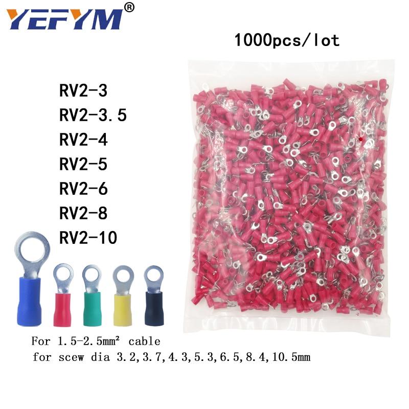 VSELE 1000 قطعة/الحزمة حلقة تجعيد العزل محطة RV2-3 RV2-4 RV2-5 RV2-6 RV2-8 RV2-10 ل 1.5-2.5mm2 سلك كابلات الموصلات