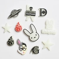 10pcs new style light pvc glow bunny custom soft rubber ornaments in the dark clog fluorescence shoes charms button accessories