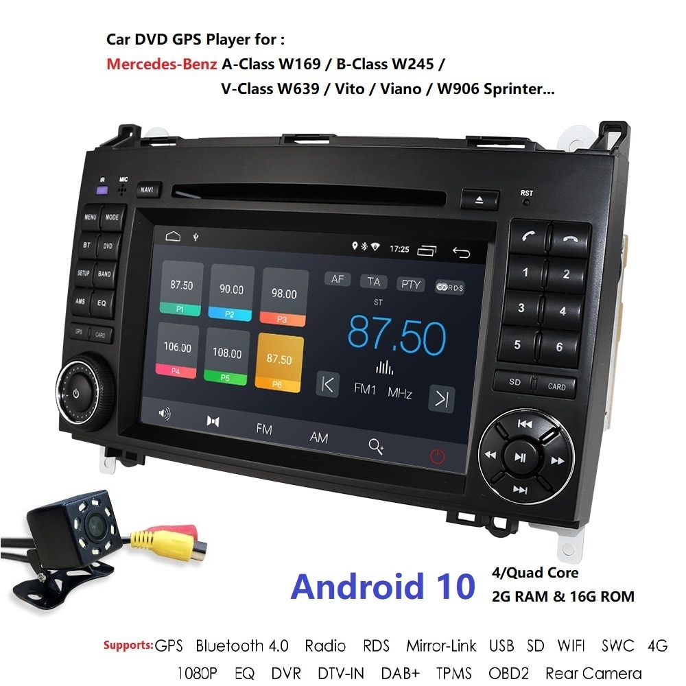 Coche reproductor Multimedia GPS Android 10 2 Din DVD Automotivo para Mercedes/Benz/Sprinter/B200/B-clase/W245/B170/W169 Radio de Audio de 4G