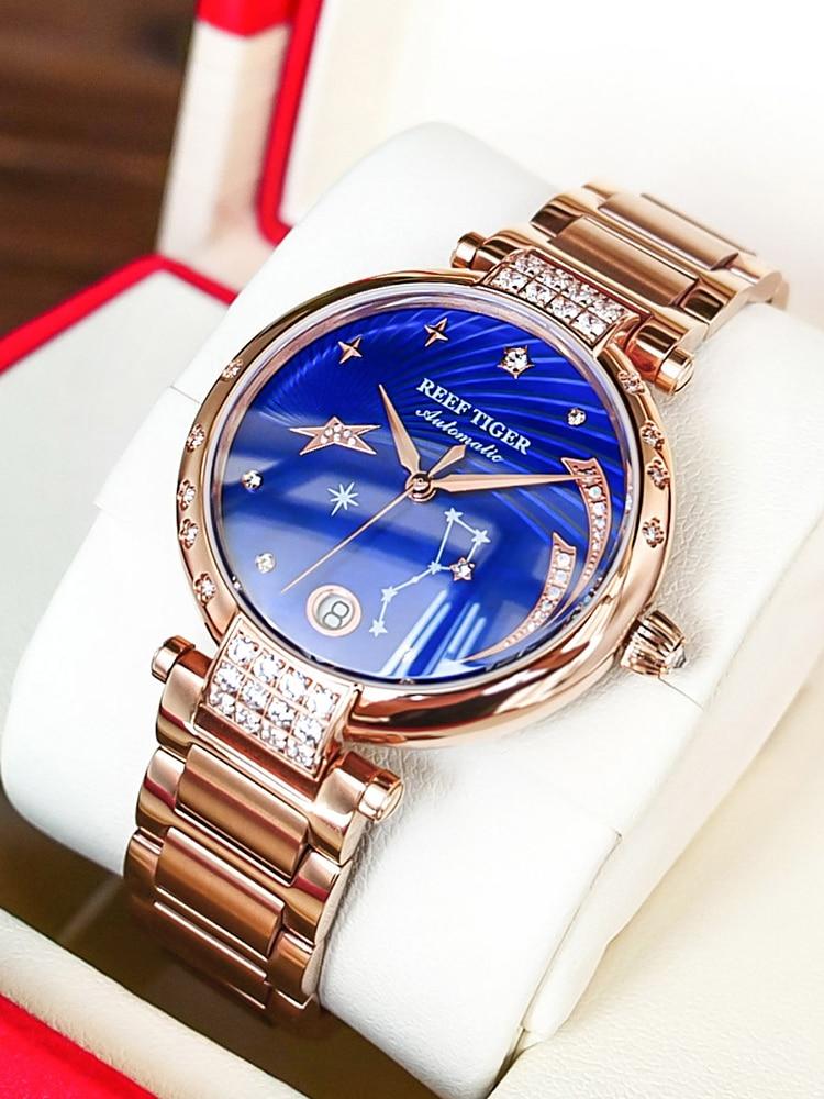 Reef Tiger/RT Top Brand Luxury Women Watch Ceramic Bracelet Diamond Automatic Mechanical Shell Watches Clock RGA1592 enlarge