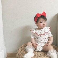 Kinderen Bodysuit 2020 Nieuwe Korea Baby Kleding Zomer Lotusblad Kraag Cherry Driehoek Bodysuit (Met Haar Band)