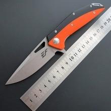 Cuchillo plegable EF42 D2 Blade G10 + con mango de acero, cuchillo de bolsillo con cojinete de bolas de acero, caza táctica, Campamento, EDC, herramientas múltiples para exteriores