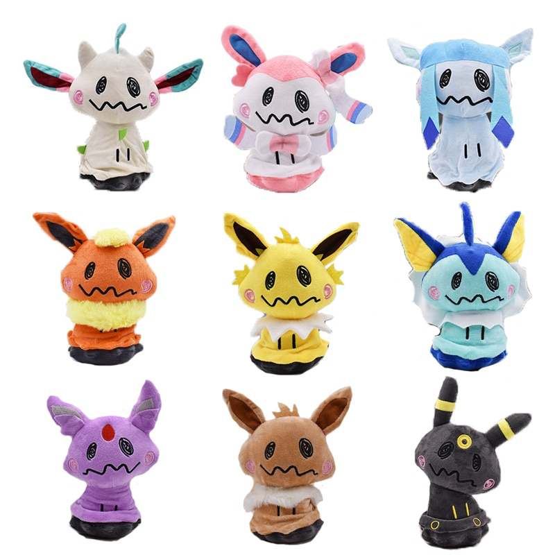 8-12 pulgadas Mimikyu Vaporeon Jolteon Flareon Pikachu Glaceon Espeon Eevee Umbreon Sylveon juguete de peluche suave muñeca animal relleno