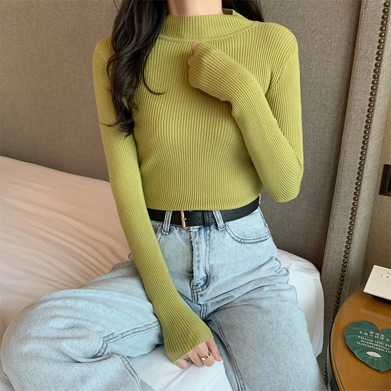 New Fashion 2020 Autumn Winter Women Knitted Turtleneck Sweater Casual Soft Jumper Fashion Slim Femme Elasticity Pullovers