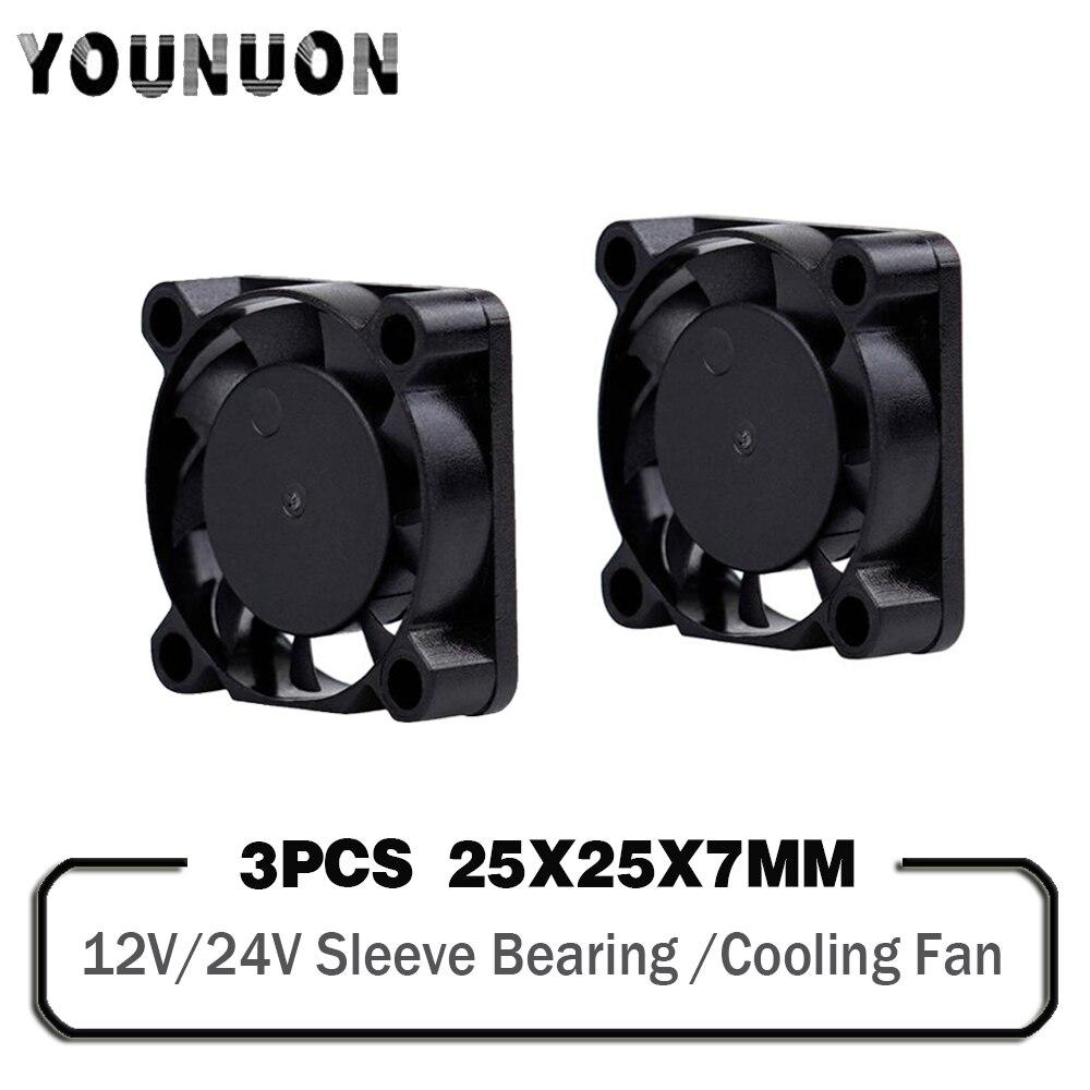 3 piezas DC 5V 12V 24V 25mm 2507 ventilador 25x25x7mm refrigeración radiador disipadores de calor ventilador