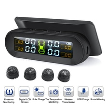 TPMS Solar Power TPMS Car Tire Pressure Alarm Monitor Auto Security System Tyre Pressure Temperature