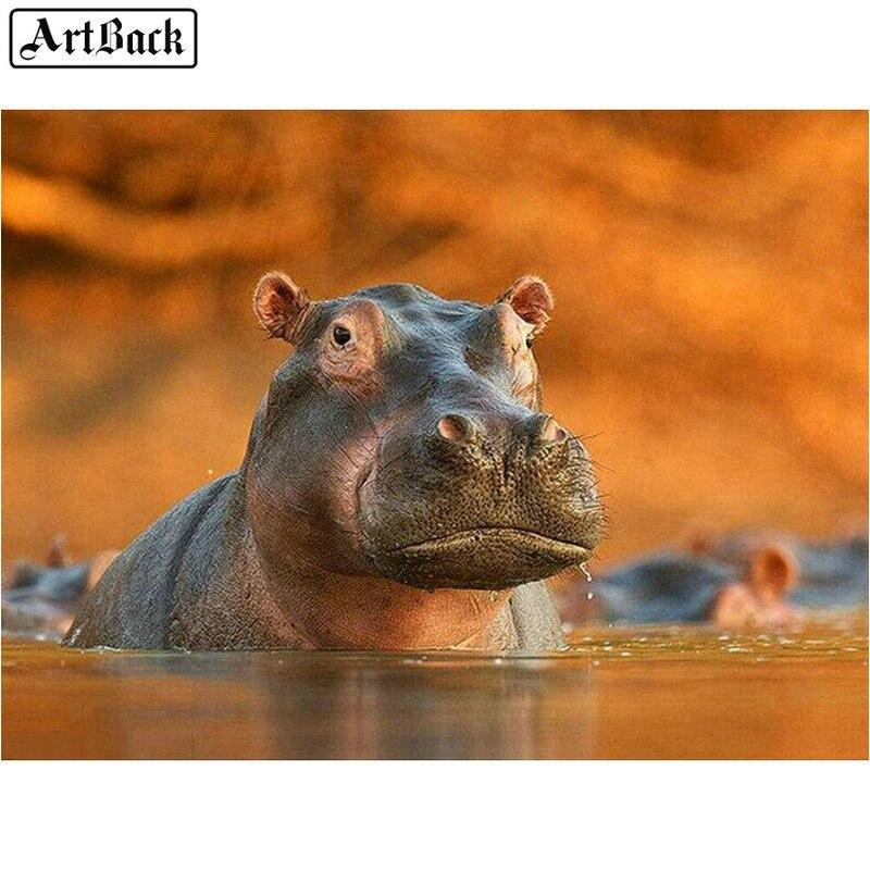 Hipopótamo animais 5d diy pintura diamante praça cheia de strass rodada diamante mosaico adesivo 3d diamante bordado