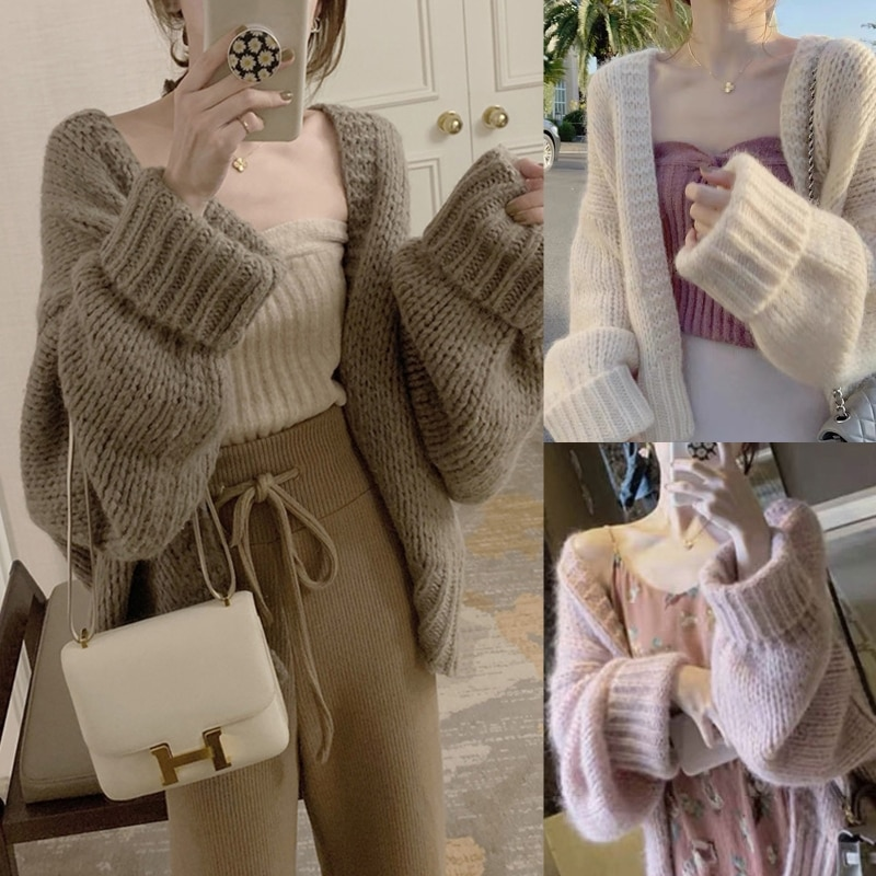 Women Batwing Long Sleeve Knit Cardigan Solid Color Open Front Oversized Sweater enlarge