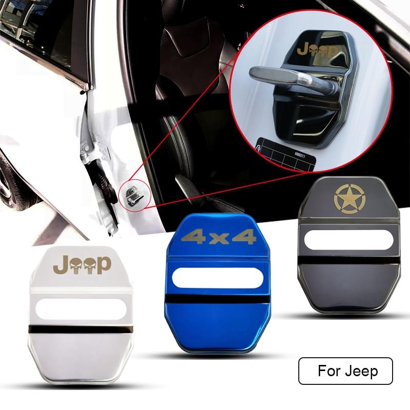 For Jeep Renegade Compass Patriot Cherokee Wrangler Grand Cherokee SRT Gladiator 4PCS Car Door Stickers Car Tuning Accessories