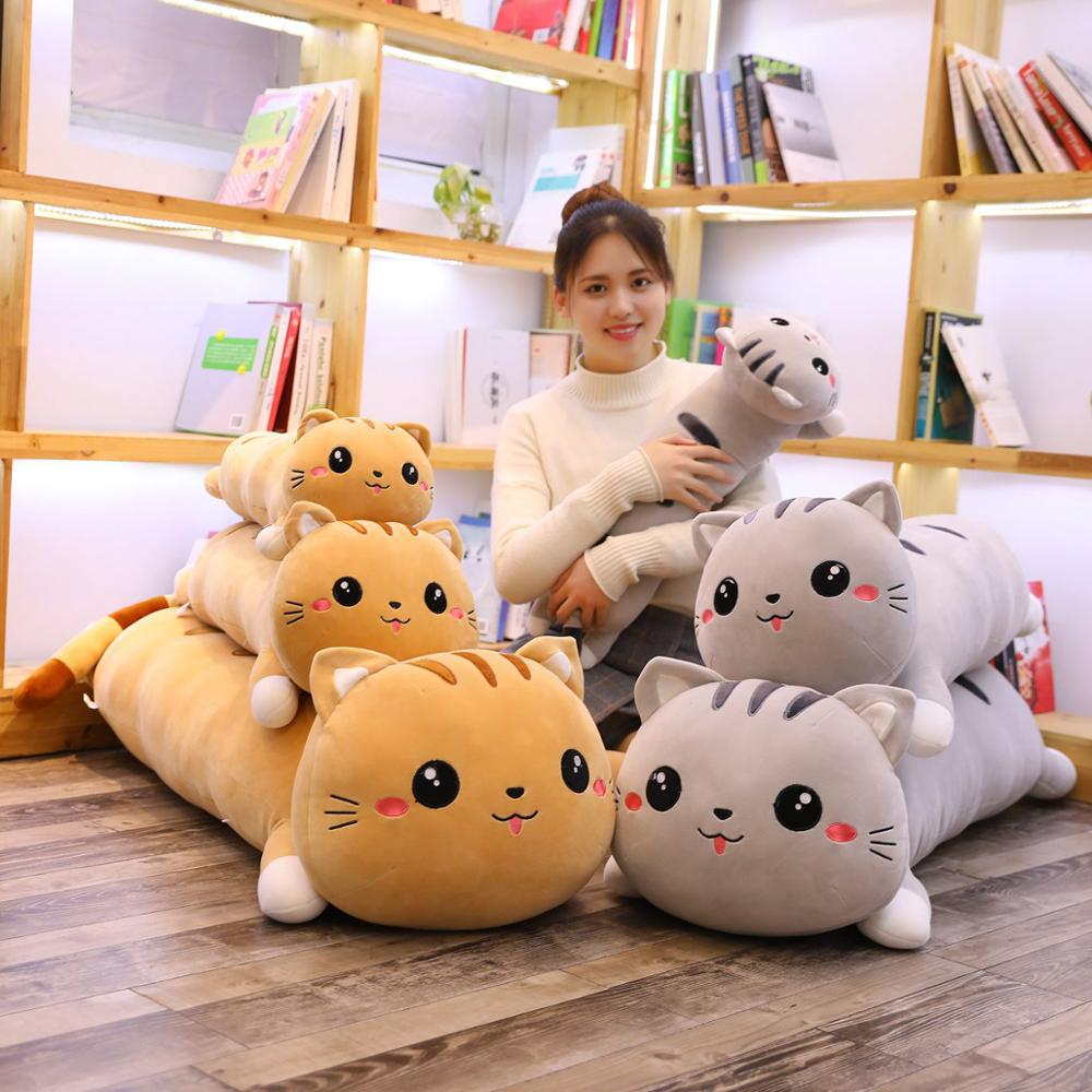 Soft Happy Cat Kitten Plush Toy Cartoon Lucky Cat Little Animal Doll Long Bolster Pillow Sleeping Friend Brown Grey 70/90cm